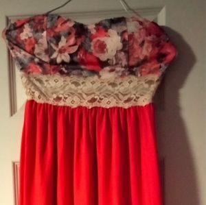 Red flower halter top